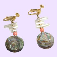Vintage Signed Napier Earrings with MOP Dangles