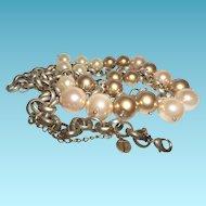 Vintage Designer Signed T Simulated Pearl Necklace