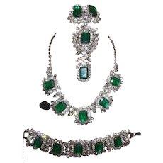 Vintage Juliana Flawed Emerald Grand Parure with Original Hang Tag