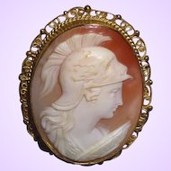 Antique Carved 1910 Edwardian Italian Shell Cameo Marked 800 Silver