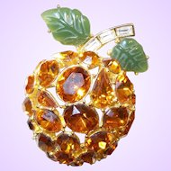 Vintage Signed Kenneth Jay Lane Topaz Apricot Brooch