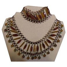 Vintage Egyptian Revival Necklace and Bracelet