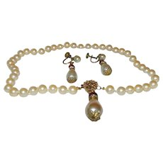 Signed Robert deMario Faux Pearl Necklace and Earrings