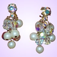 Vintage Signed Simulated Pearl and Crystal Dangle Earrings