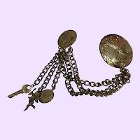 Vintage Metal Chatelaine Brooch