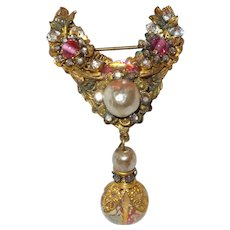 Signed Rare DeMario Brooch with Simulated Pearls and Rhinestones