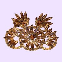 Signed Schrager Pin and Earrings in Bronze Colored Rhinestones