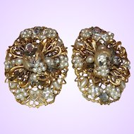 Vintage Simulated Pearl and Gold Tone Filigree Earrings
