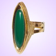Vintage 18K Yellow Gold Green Onyx Ring