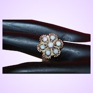 14KT Gold Ring with Cluster of Australian Opals