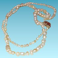 "Vintage Cultured Pearl 14"" Necklace with 14K Gold Clasp"