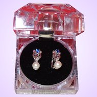 Vintage Cultured Pearl Earrings with Blue Sapphires and Diamond Chips