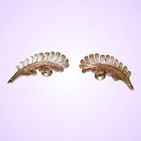 14 Karat Gold Tone Leaf Motif Earrings
