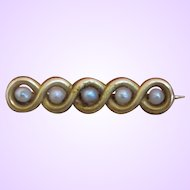 Vintage 14 Karat Cultured Pearl Bar Pin