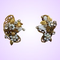 Signed Original By Robert Simulated Pearl, Milk Glass and Crystal Earrings