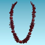 Vintage Double Strand of Red Branch Coral and Dyed Free Form Coral Set in Silver