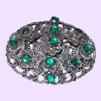 Vintage Victorian Revival Brooch in Emerald Colored Stones