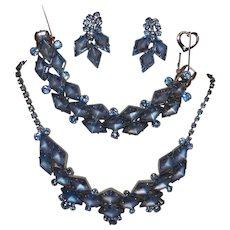 Vintage Juliana Frosted Blue Diamond Shape Parure