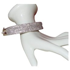 Vintage 5-1/2 CTW 14KWG Diamond Bangle Bracelet