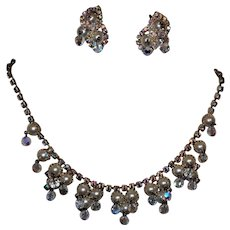 Rare Stunning D&E Simulated Pearl Cluster Crystal Aurora Borealis Dangling Necklace with Earrings
