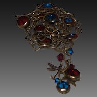 Artisan Cascading Necklace With Natural Stones of Garnet and Topaz