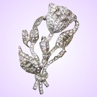 Vintage Unsigned Staret Clear Rhinestone Brooch Book Piece