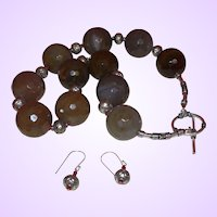 Clearance Item Artisan Hand Strung Round Brazilian Agate With Sterling Silver and Earrings