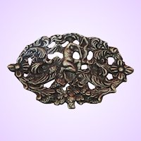 Vintage Late Victorian/Art Nouveau Silver Plate Brooch