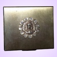 Clearance Brass Compact With Decorative Cameo Front