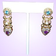 Vintage 10K Gold Slide Earrings With Amethyst, Topaz and Cultured Pearls