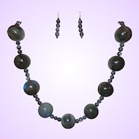 Artisan Hand Strung Labradorite Necklace and Earrings