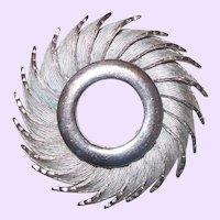 Vintage Signed HAR Silvertone Wreath Sunburst Swirl Brooch