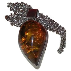 Baltic Amber Necklace with Silver Chain