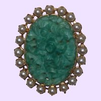 Louis Lustern Carved Peking Glass Brooch/Pendant with Simulated Pearls