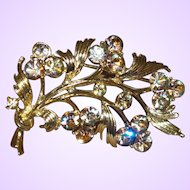 Signed Lisner Leaf Brooch with Rhinestone Flowers