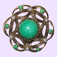 Vintage Faux Jade and Faux Pearl Brooch