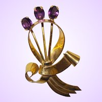 Large Coro Sterling Vermeil Bow and Flower Brooch