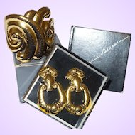 """Signed Jose Barrera for Avon """"Corinthian Collection"""" Cuff Bracelet and Earrings with Original Boxes"""