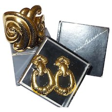 "Signed Jose Barrera for Avon ""Corinthian Collection"" Cuff Bracelet and Earrings with Original Boxes"
