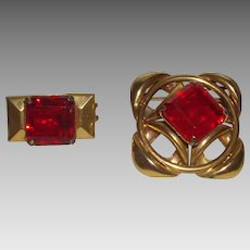 Vintage Belt/Sash Buckles with Bright Cherry Red Stones