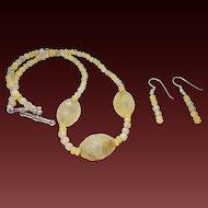 Artisan Created Lemon Quartz Necklace with Earrings.