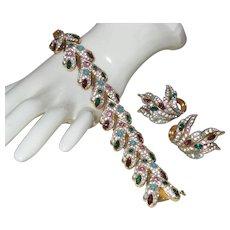Signed Joseph Mazer Multi Colored Rhinestone Bracelet and Earrings