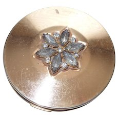 Clearance Gold Plated Pilcher Compact With Rhinestones