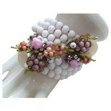 Clearance - Vintage Unsigned Miriam Haskell Milkglass Bracelet/Earrings