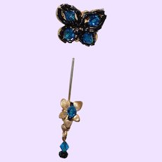 Figural Butterfly Stick Pin in Marine Blue Rhinestones