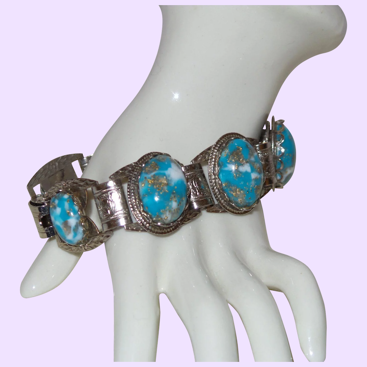 Unsigned Selro Bracelet with Blue and