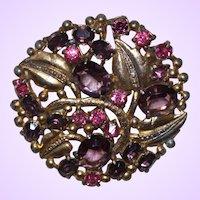 Vintage Purple/Pink Rhinestone Pin