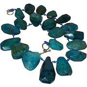 Clearance of Artisan Creation of Hand Strung Blue Green Chrysocolla on Hand Knotted Blue Silk Cord