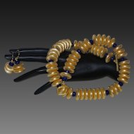 Artisan Created Hand Strung 22 Karat Gold Plated Disc Necklace with Faceted Sapphire Spacers and Earrings