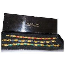 Signed Joan Rivers Set of Three Enamel Bracelet with Original Box
